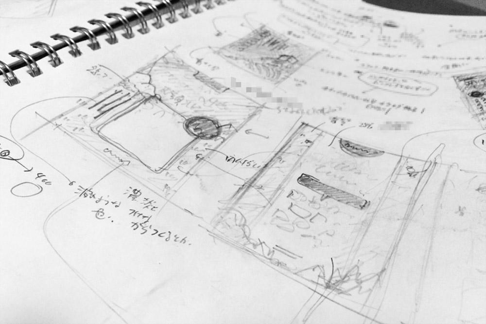 手書きでノートにアイデアをまとめた