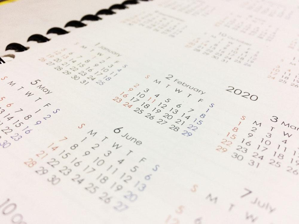手帳のカレンダー一覧