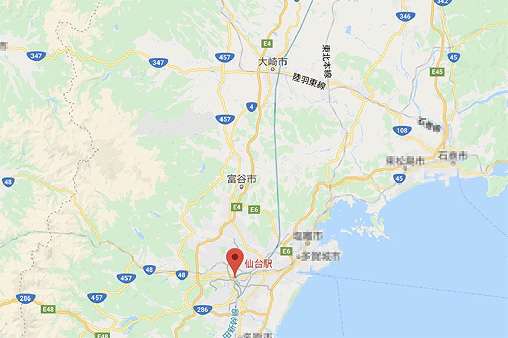 仙台と大崎市の地図